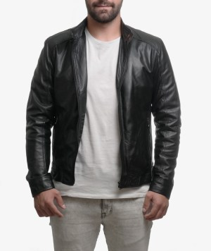 Giubbotto biker in vera pelle washed