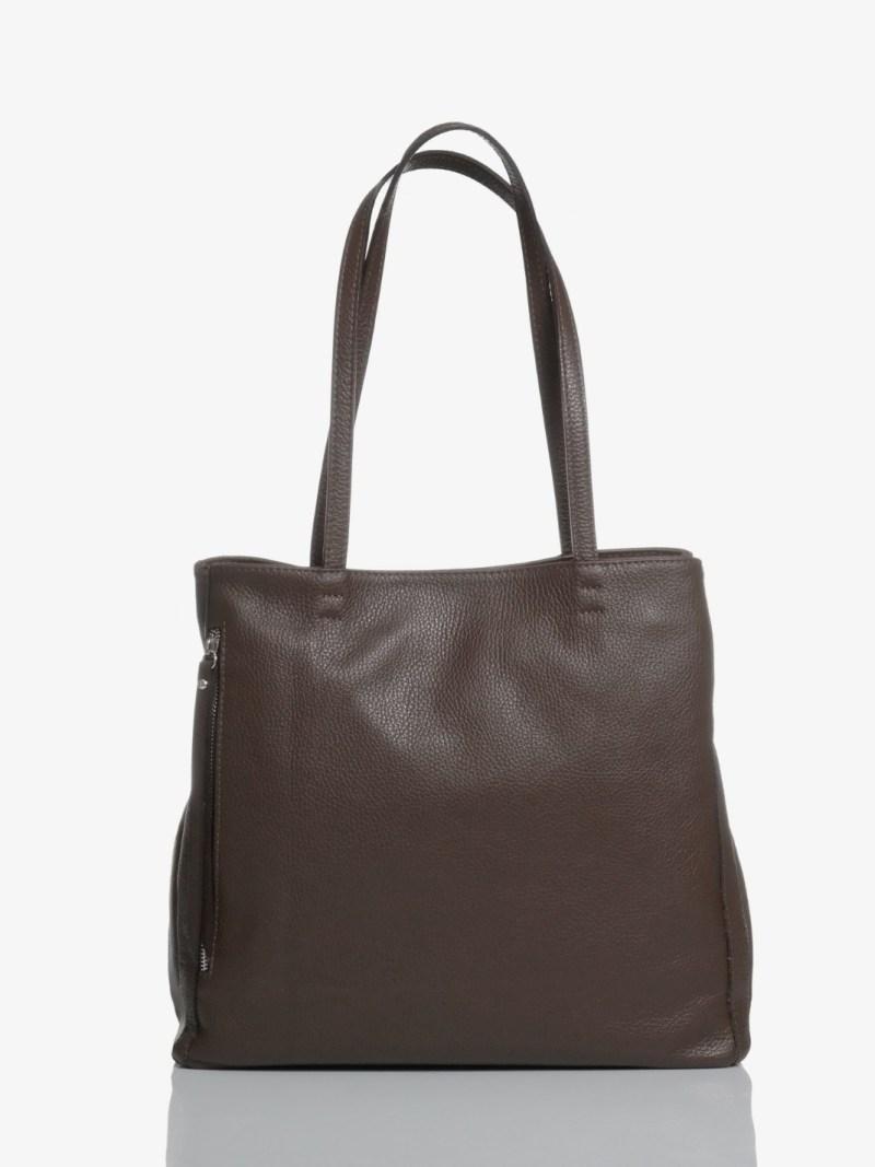 Sac plat bag in pelle marrone