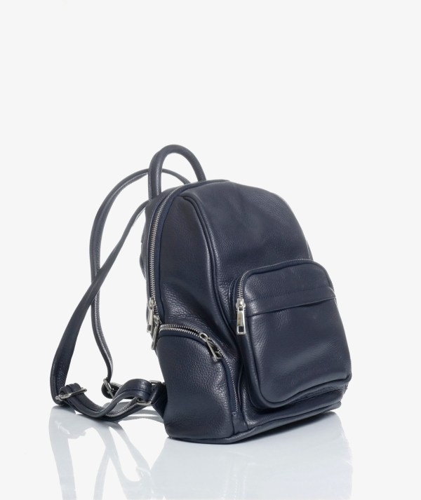 zaino city bag in pelle blu