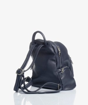 zaino city bag in pelle blu