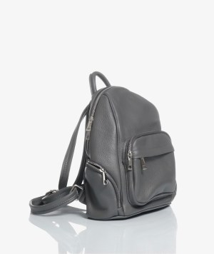 zaino city bag in pelle grigio