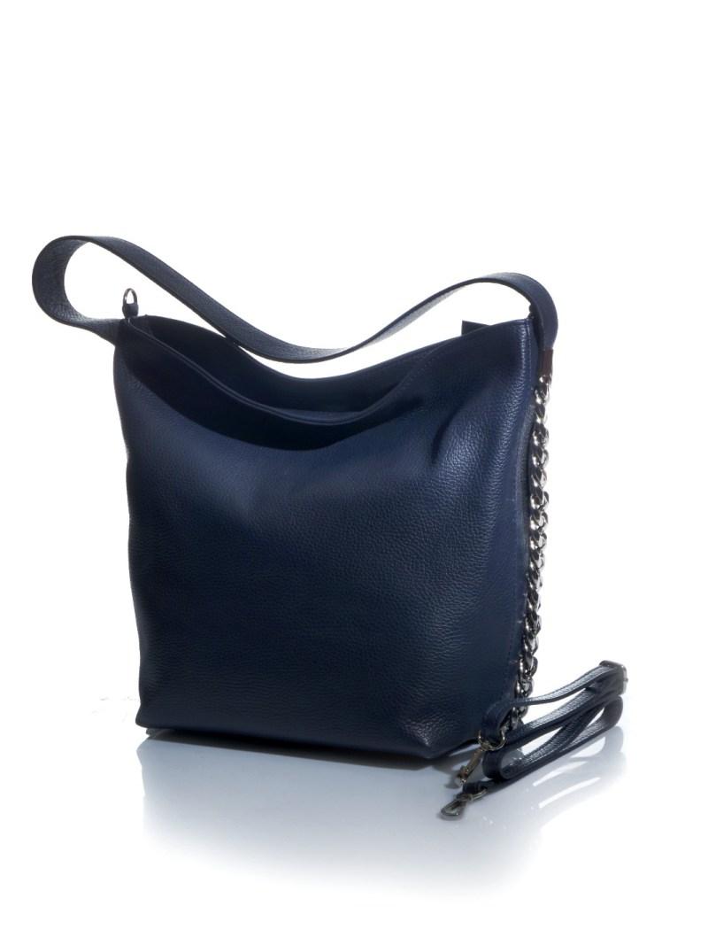 Petit sac blu in vera pelle