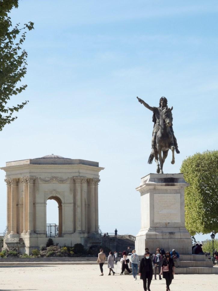 Montpellier: Peyrou arc de triomphe et statue de Louis XIV