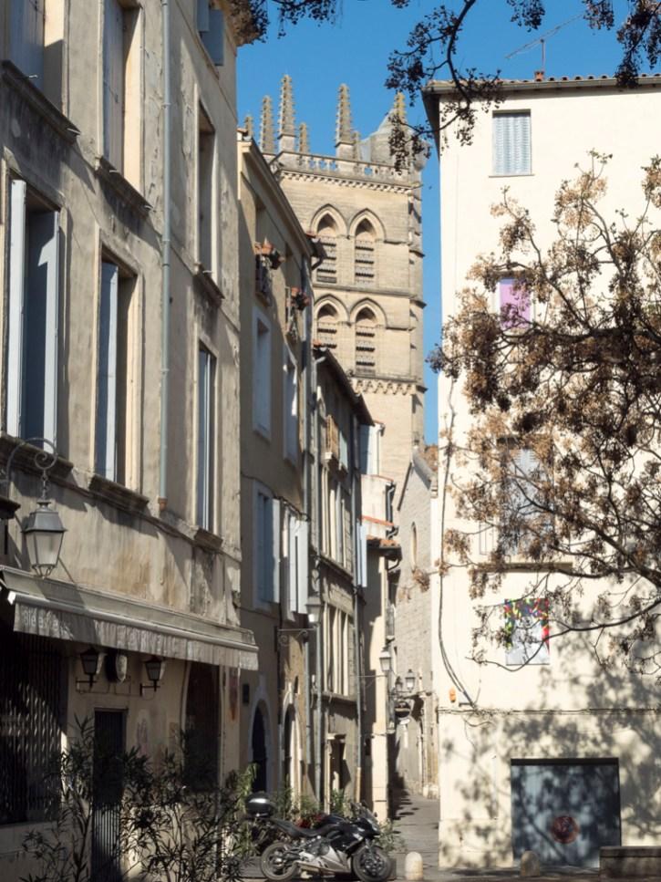 Montpellier: l'Ecusson (au loin la cathédrale)
