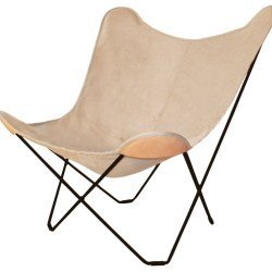Flagermusstol i kanvas , natur - Cuero