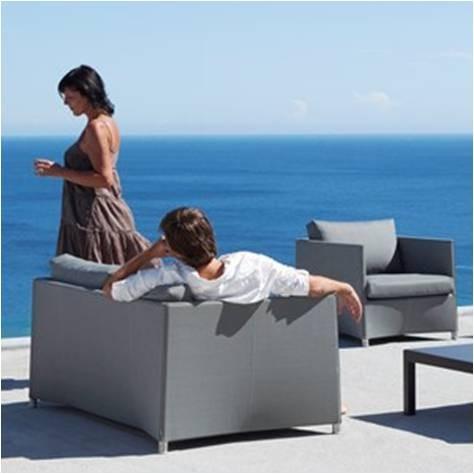 Diamond sofa 2 pers. grå inkl. hynde - Cane-Line