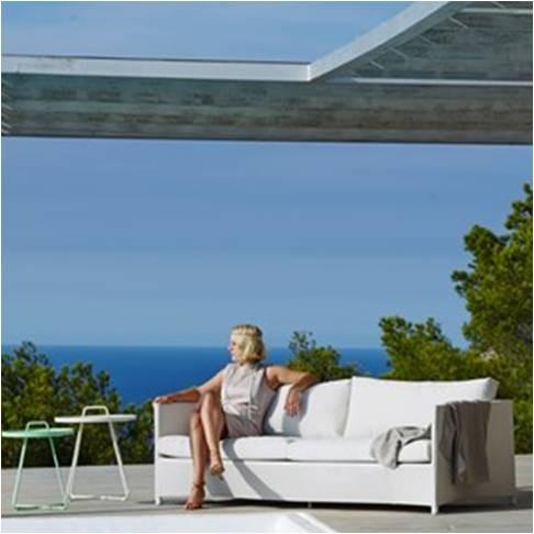 Diamond sofa 3 pers. hvid inkl. hynde - Cane-Line