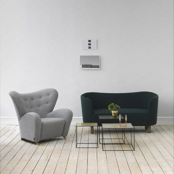 By Lassen - Twin 42 sofabord - messing/misty grøn laminat