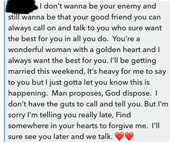 Man proposes, God disposes - Man says in message to his girlfriend after announcing his marriage another woman