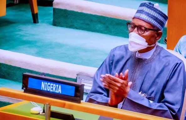 Photos of President Buhari at the opening session of 76th UN General Assembly