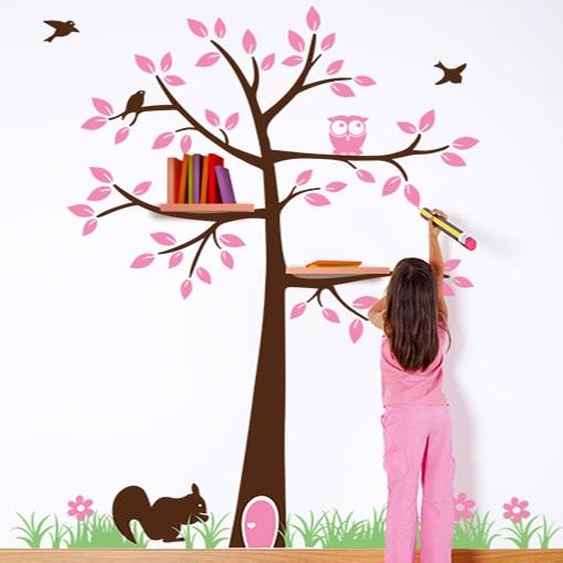 Totalmente 160 punti per adesivi murali pc. Adesivo Murale Fatto A Mano Con Albero Per Cameretta Bambina Olalla