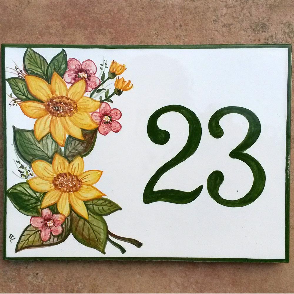 Numero Civico con Disegno Personalizzato Dipinto a Mano  Girasoli  Olalla