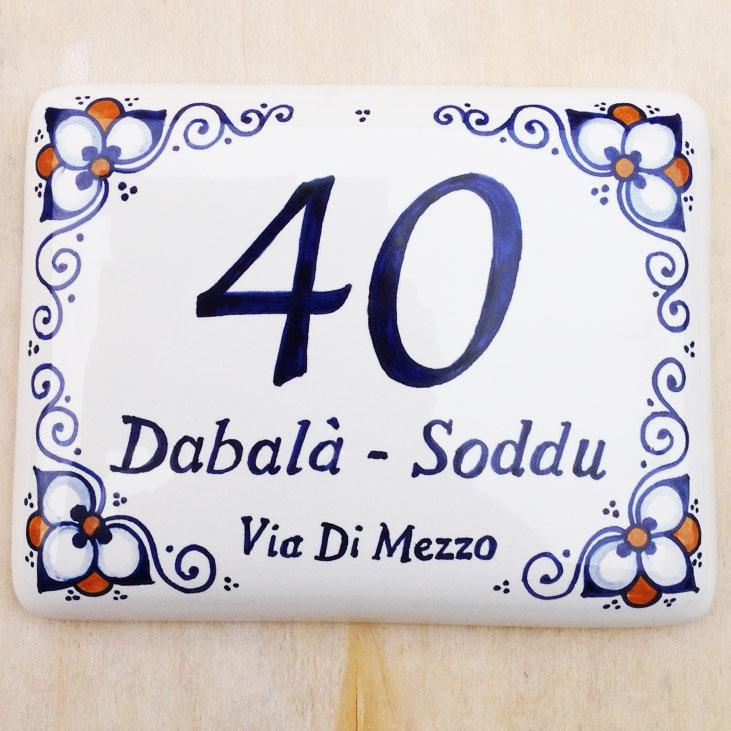 Numero Civico in Ceramica Personalizzabile con Decoro Faenza  Olalla