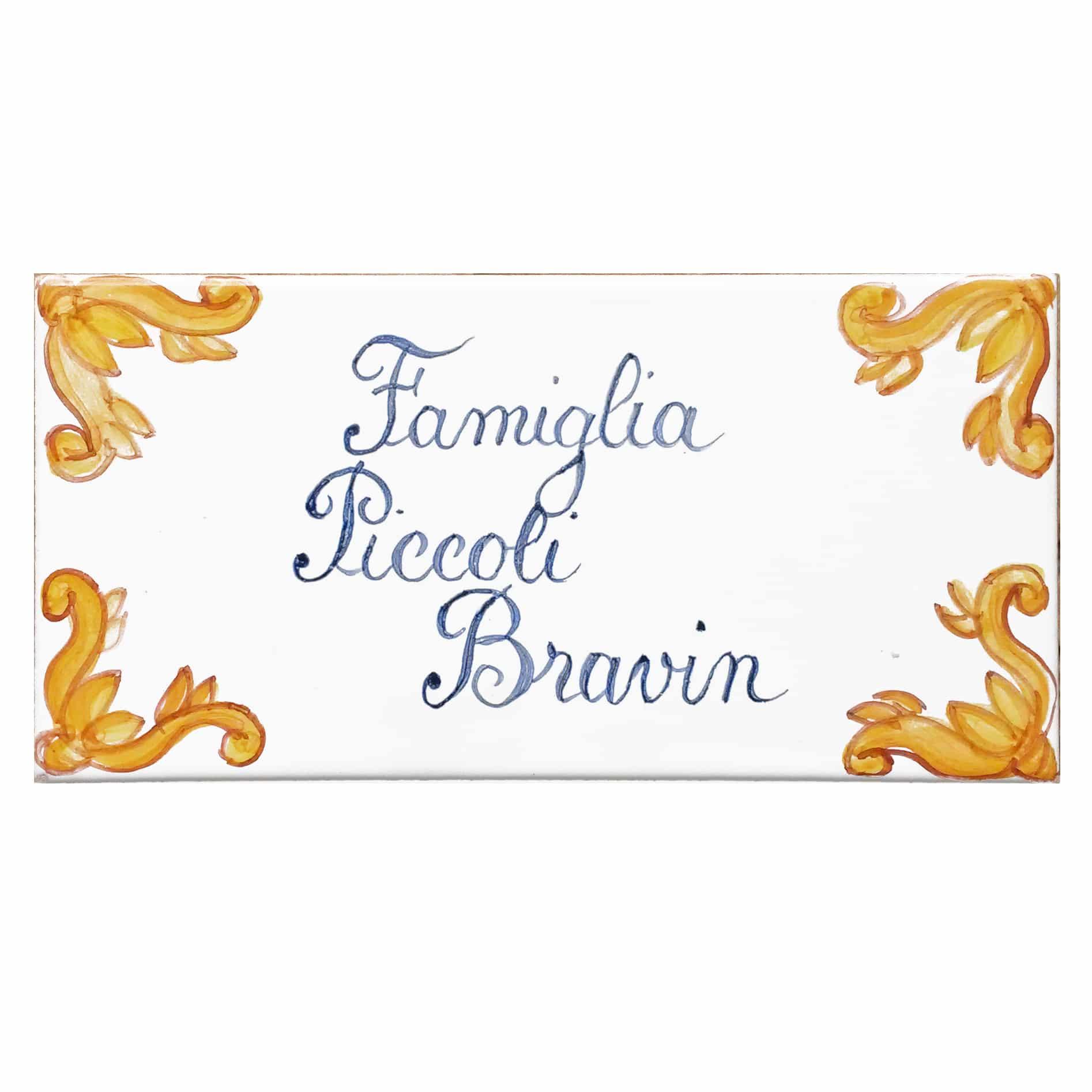 Piastrella con Nome di Famiglia o Numero Civico e Decori Gialli  Olalla