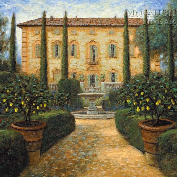 Dipinto ad Olio su Tela Riproduzione di Foto di una Villa