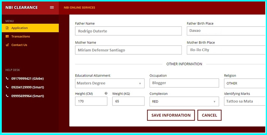 nbi online application form information