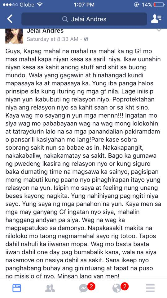 Jelai Andres Facebook post for Toni Fowler