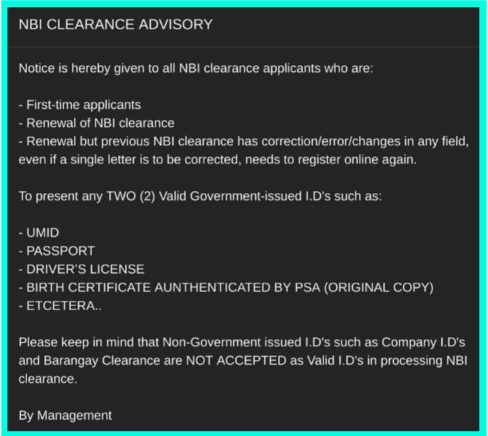NBI CLEARANCE VALID ID 2019 UPDATED LIST | Olanap Media