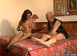 Old wrinkled daddy tastes fresh young slut nectar