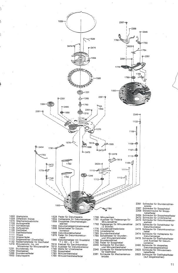 A German Service Manual for the Omega 1040 movement