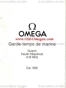 A French Omega Owners Manual for the 1525 Quartz Marine