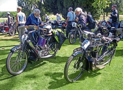 A moment for quiet reflection during the International West Kent Run, with Roger King's 1914 Scott Standard and Bill Mills' 1921 AJS Model