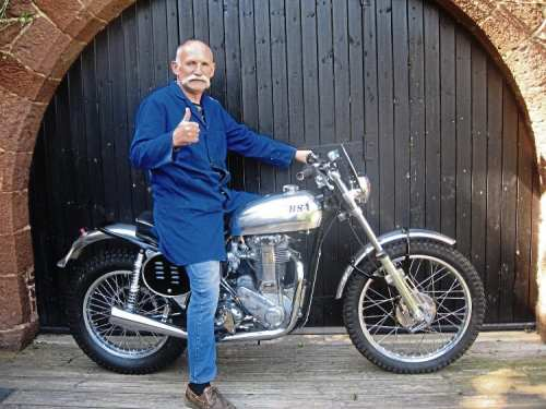 John McCrink looks well pleased with his beautifully-rebuilt and now road-legal BSA Gold Star scrambler.