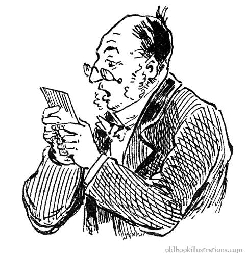 Man reading his mail » Old Book Illustrations: pictures