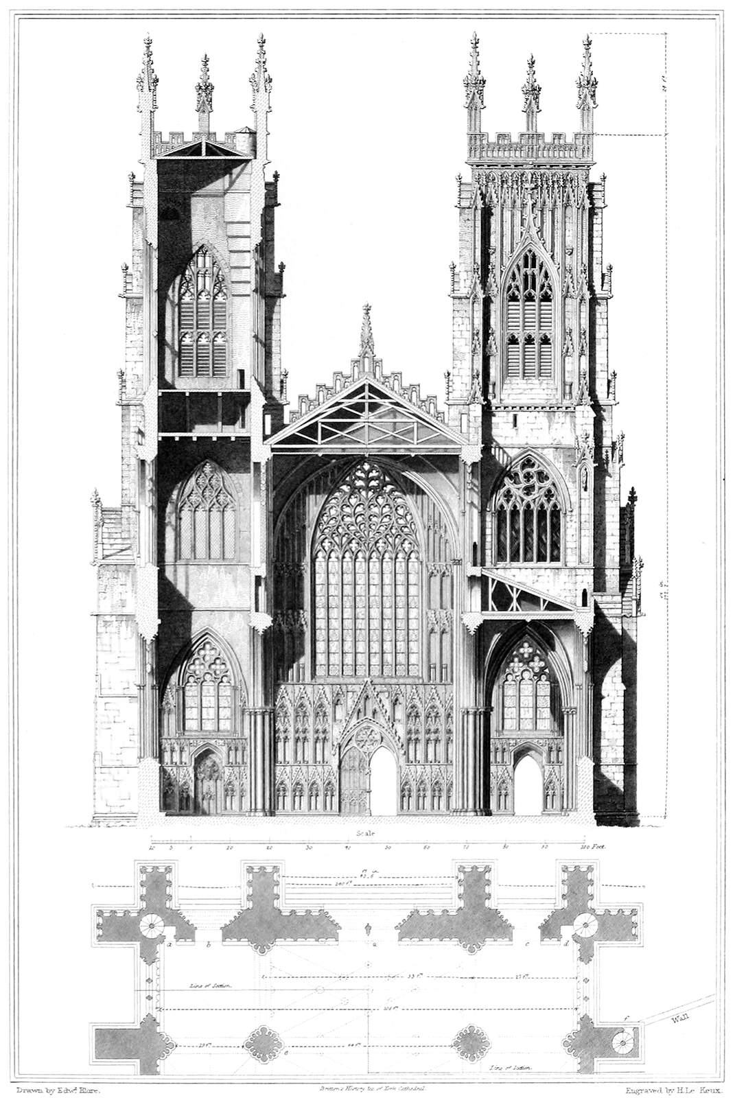 diagram of gothic church honeywell thermostat wiring york cathedral elevation and section  old book illustrations