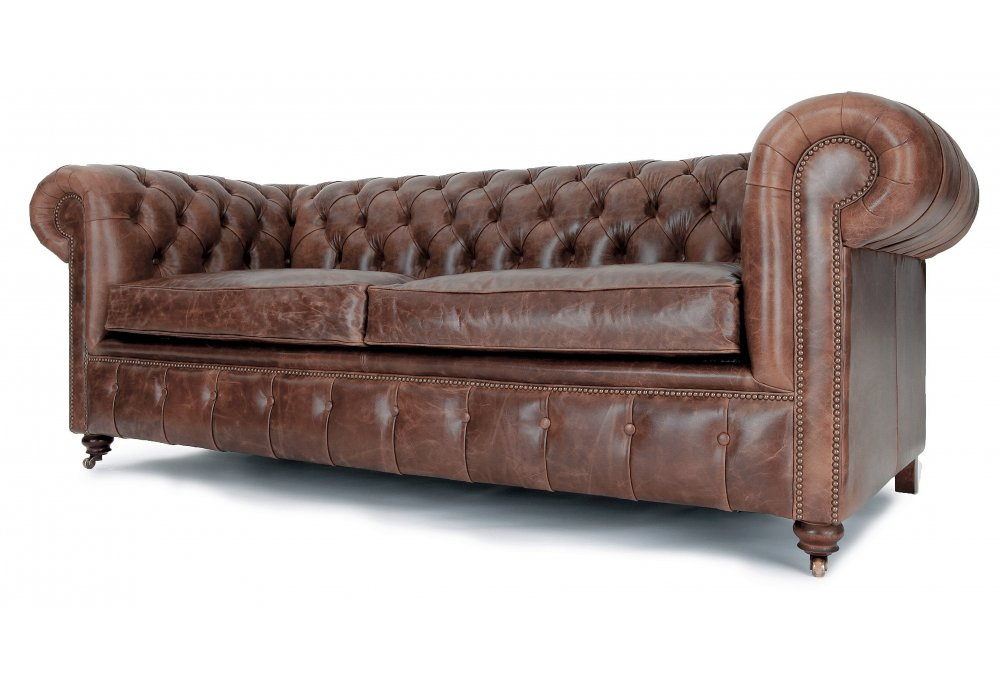 chesterfield sofa bed furniture couch historian vintage leather 3 seater from old boot seat