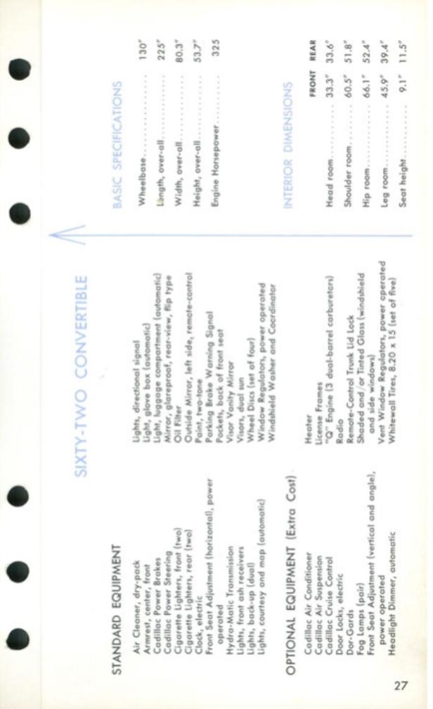 1959 Cadillac Salesmen's Data Book