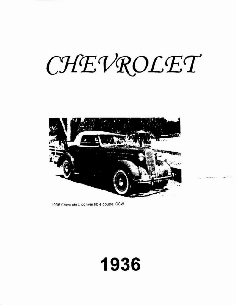 1936 Chevrolet Engineering Featrues Manual