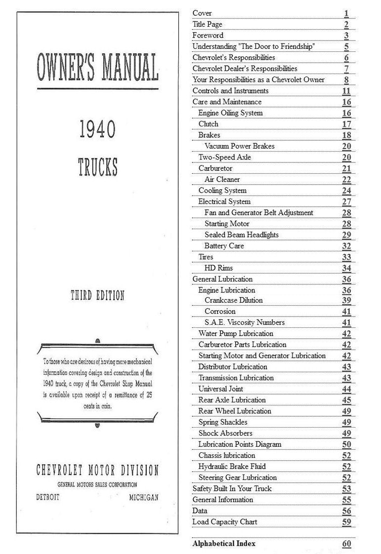 1940 Chevrolet Trucks Owners Manual