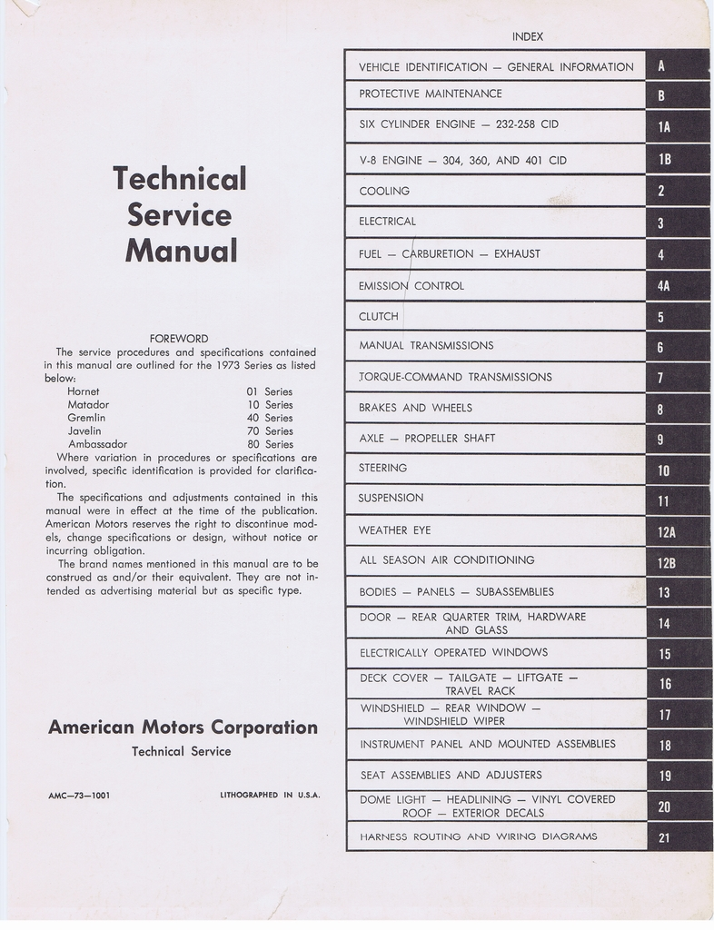 1973 AMC Technical Service Manual page 1 of 487