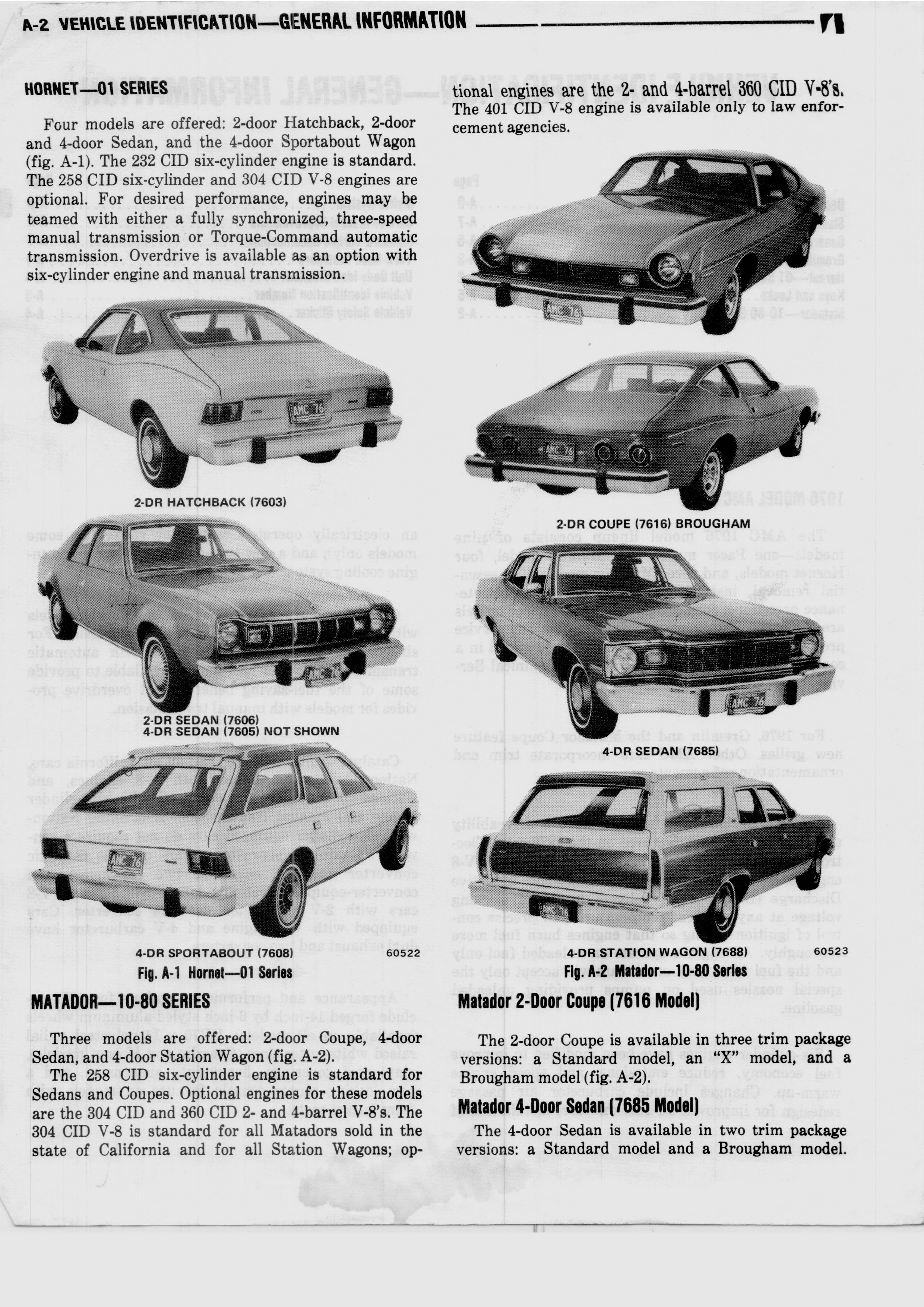 1976 AMC Technical Service Manual Vehicle Information