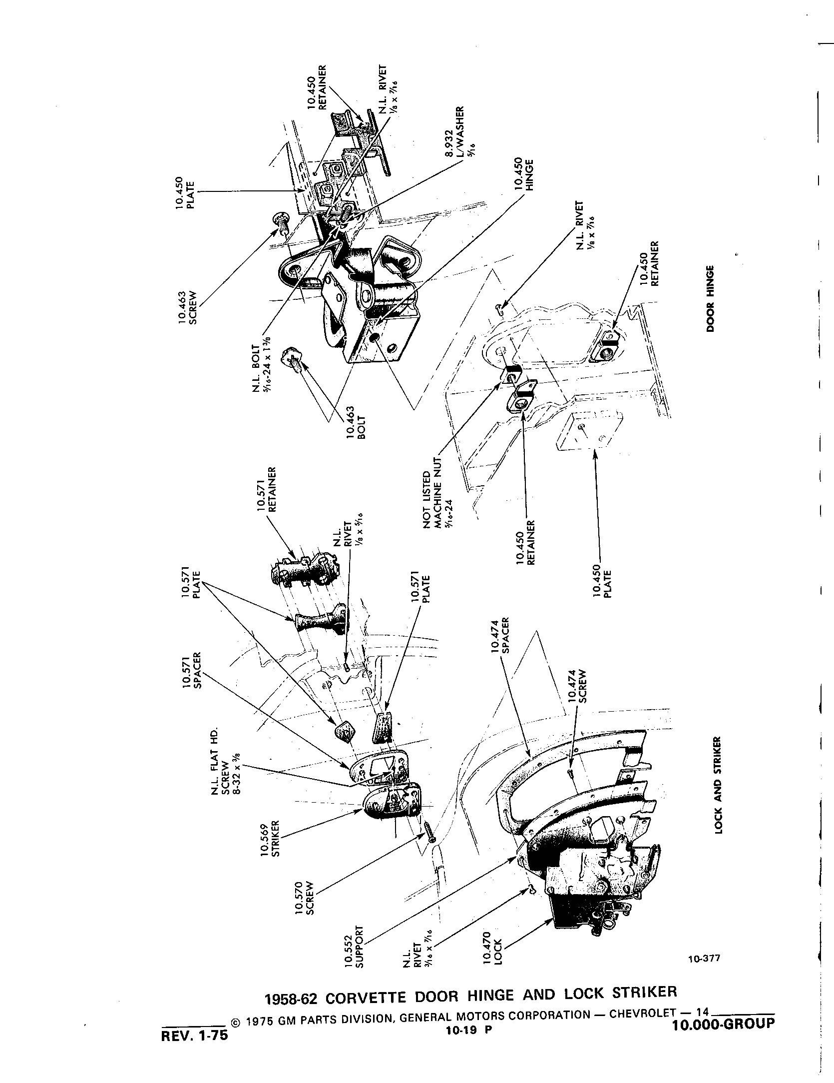 Group10 Windshield Doors Controls / 1953-1973 Corvette