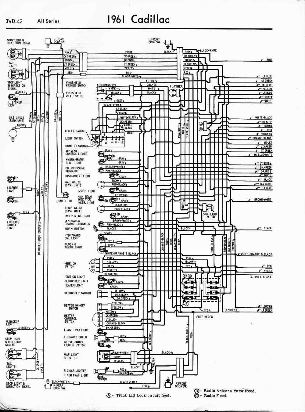 medium resolution of cadillac wiring diagrams 1957 1965 1961 cadillac radio wiring diagram 1961 all series left