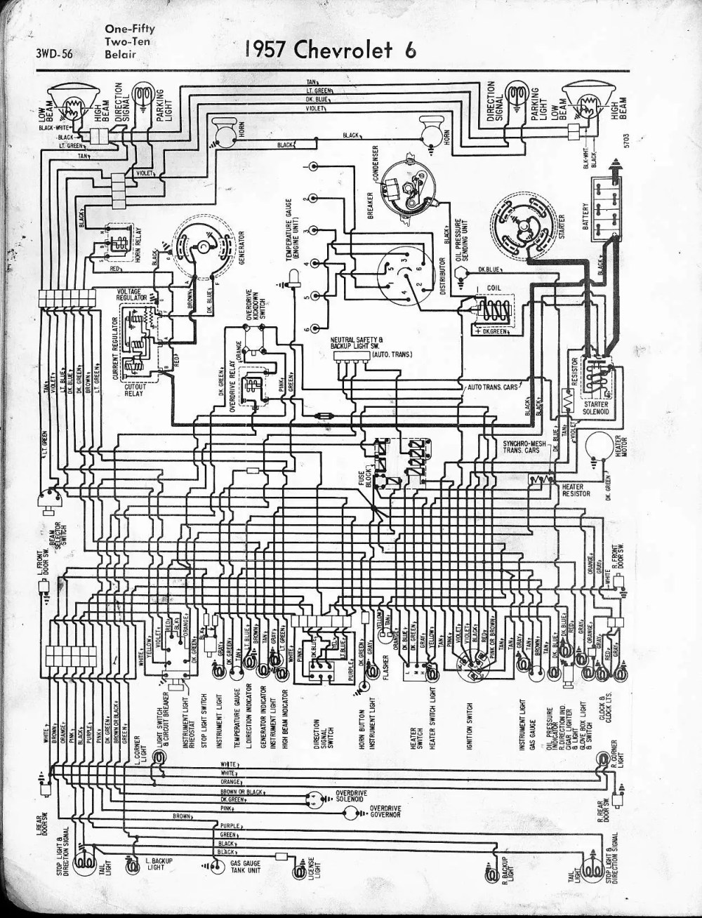 medium resolution of 57 65 chevy wiring diagrams1957 6 cyl one fifty two ten belair