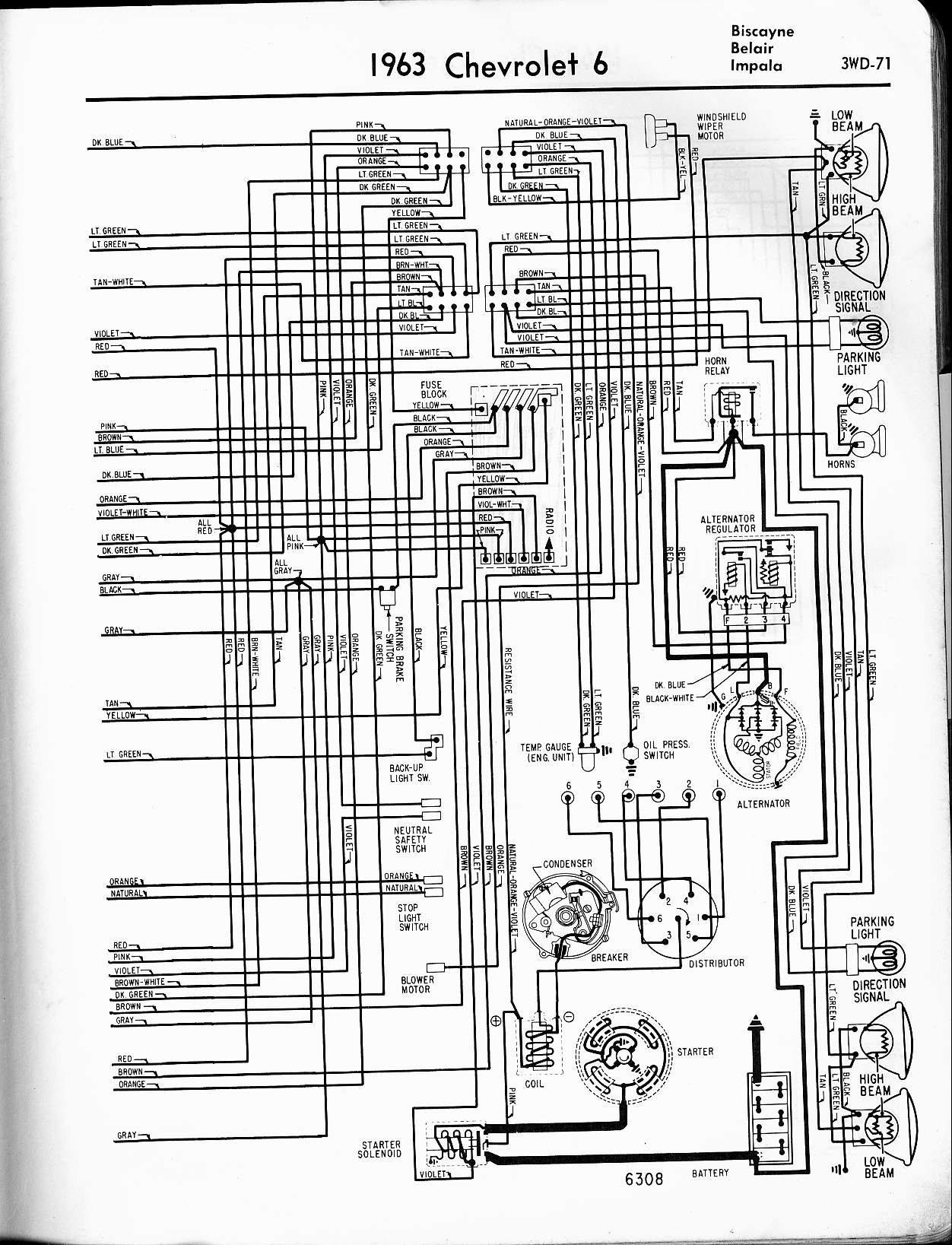 1963 Chevy Wiring Diagram Manual Reprint Impala Ss Bel Air