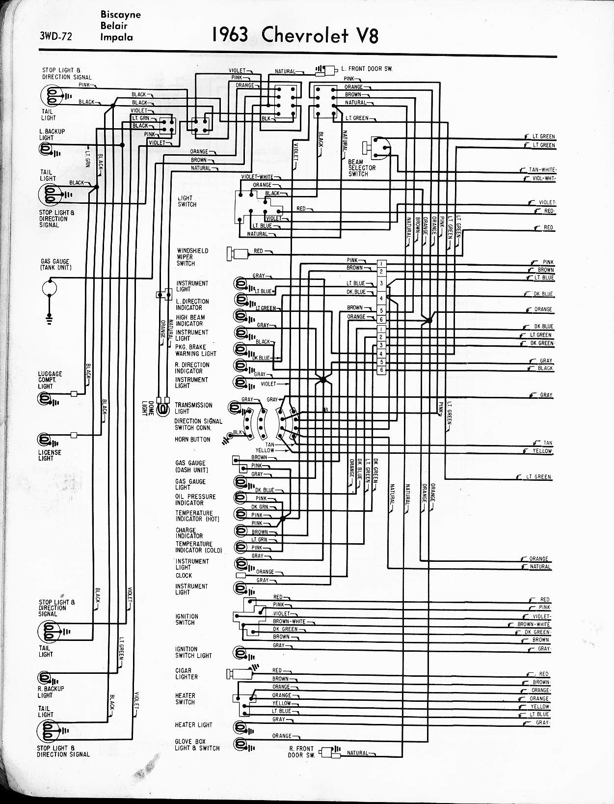 hight resolution of 57 65 chevy wiring diagrams1963 v8 biscayne belair impala left