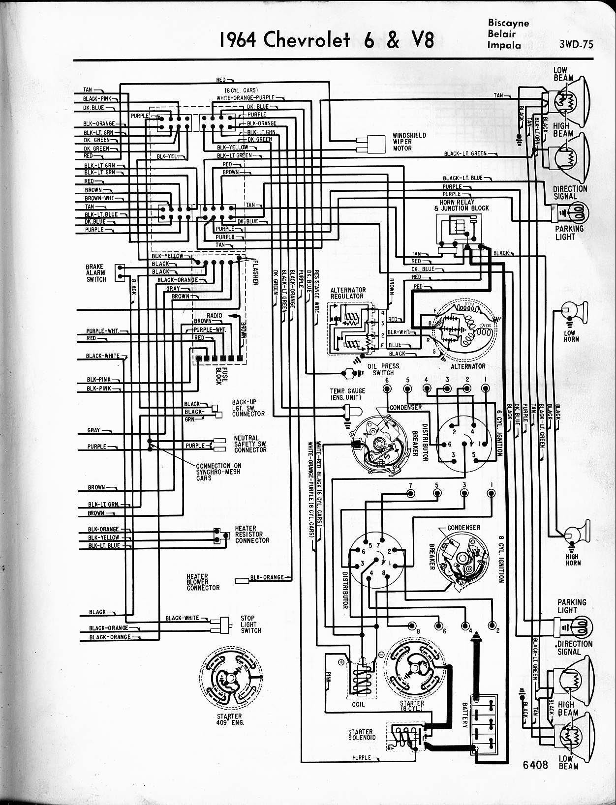 hight resolution of 57 65 chevy wiring diagrams1964 6 u0026 v8 biscayne belair impala