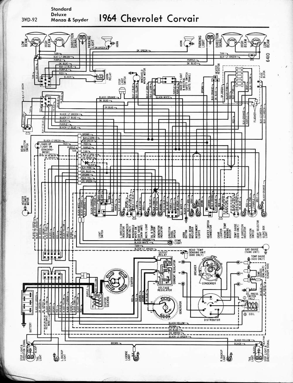 medium resolution of 57 65 chevy wiring diagrams1964 corvair std deluxe monza spyder