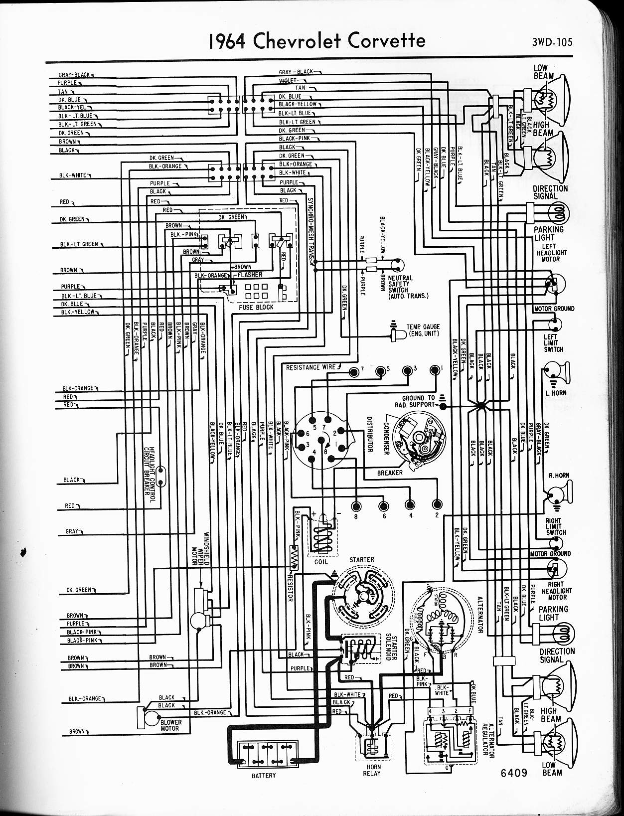 MWireChev64_3WD 105 1964 impala wiring diagram efcaviation com 1964 corvair wiring diagram at love-stories.co