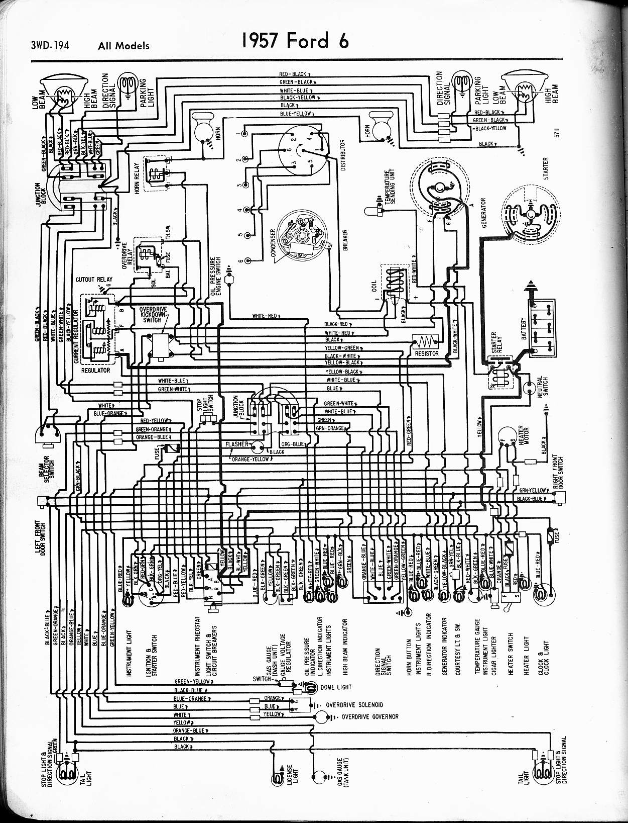 hight resolution of 57 65 ford wiring diagrams1957 6 cyl all models