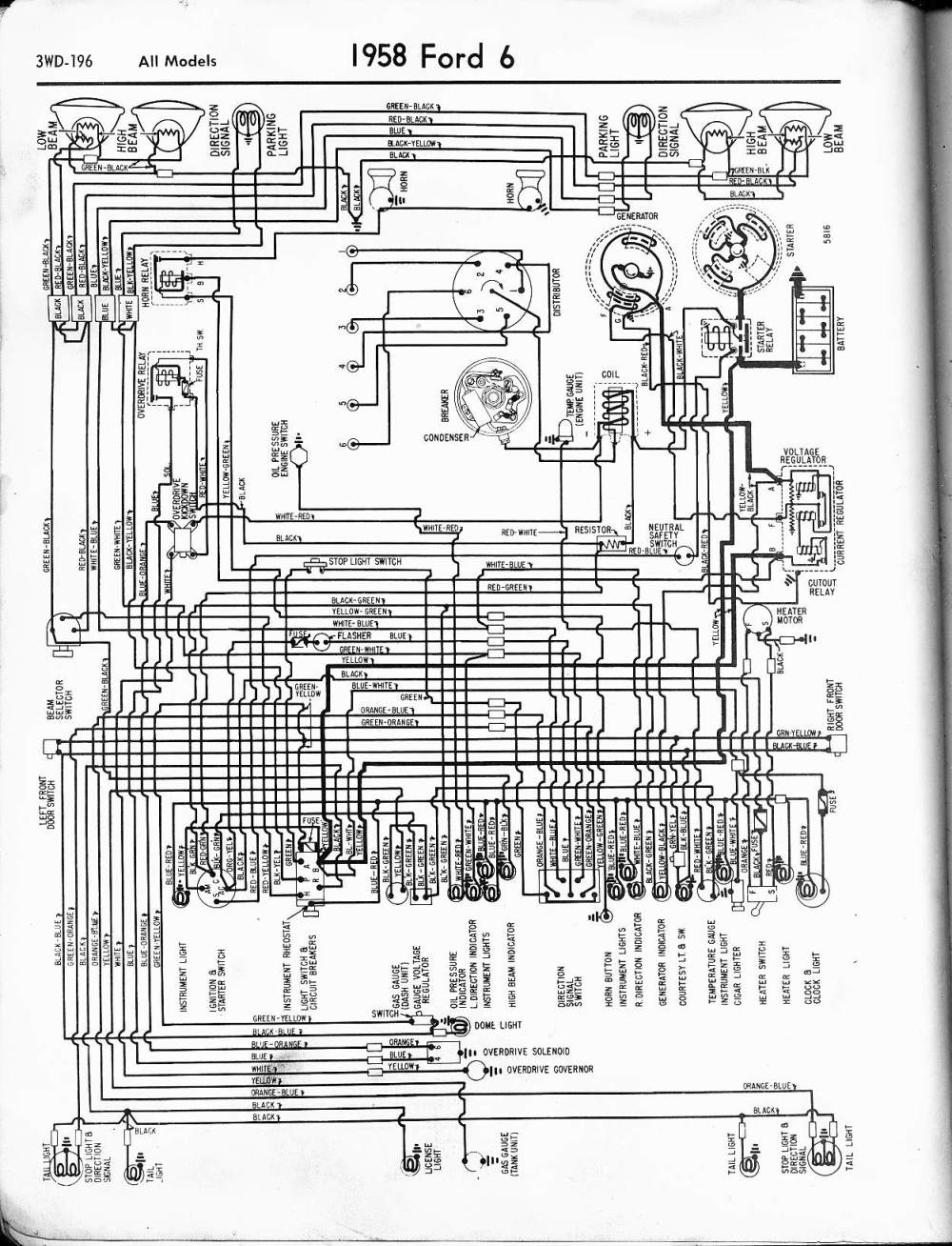 medium resolution of 57 65 ford wiring diagrams 1977 ford f150 wiring diagram 1958 6 cyl all models