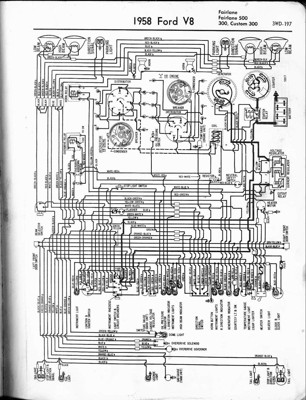 medium resolution of 57 65 ford wiring diagrams ford alternator diagrams 1958 v8 fairlane 500 300