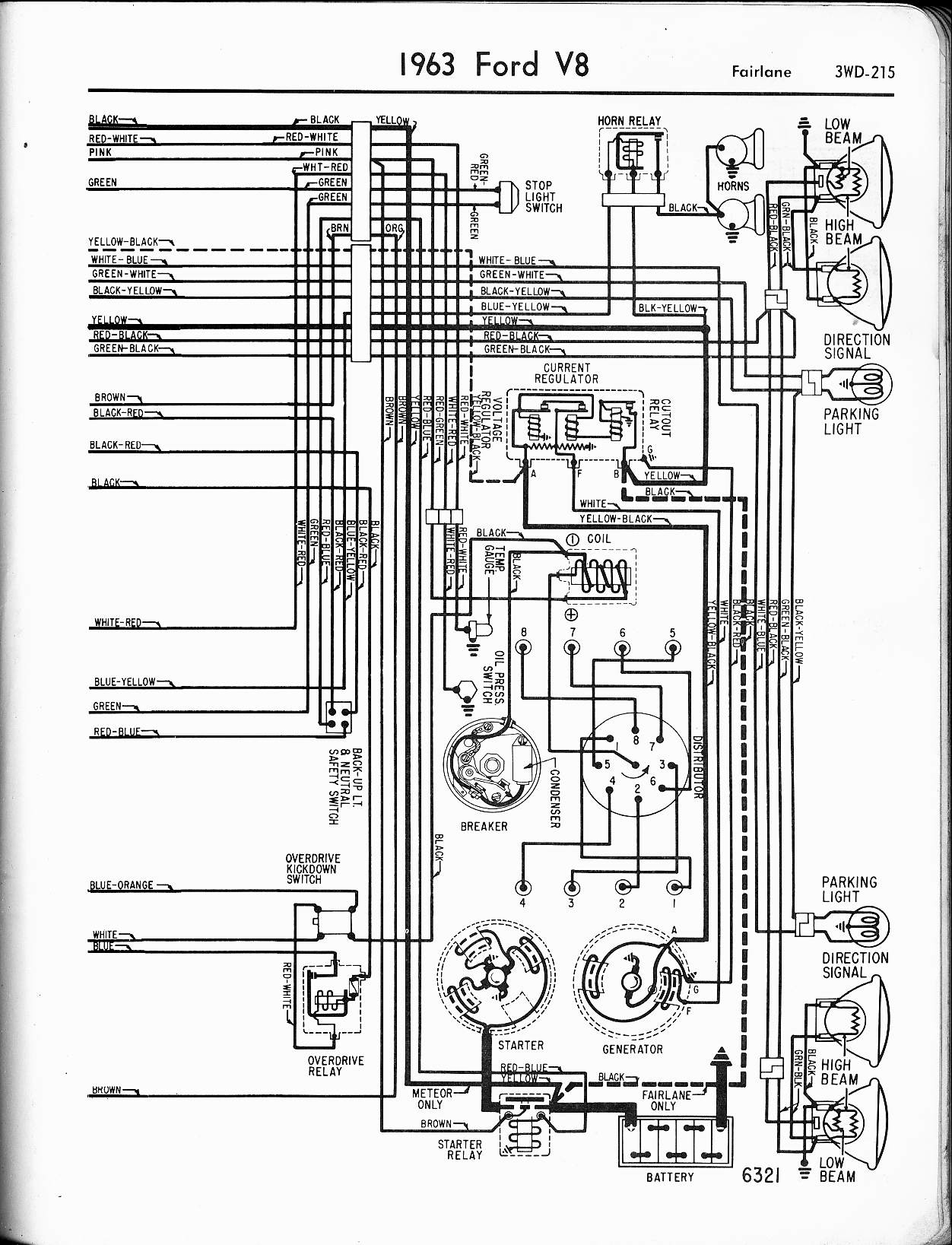 1962 Ford Falcon Ignition Switch Wiring Diagram, 1962