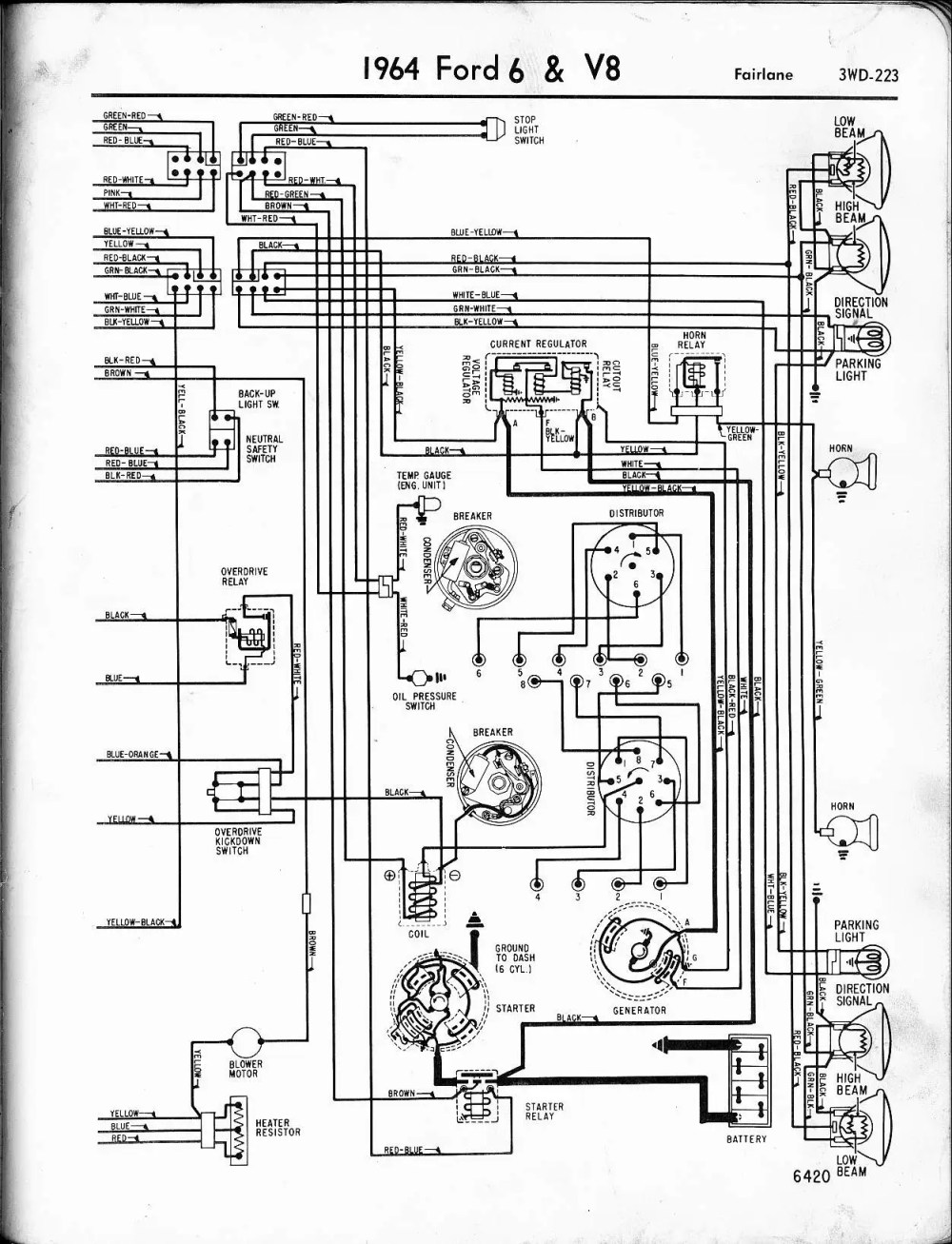medium resolution of 57 65 ford wiring diagrams 1964 ford galaxie generator wiring diagram 1964 6 v8 fairlane