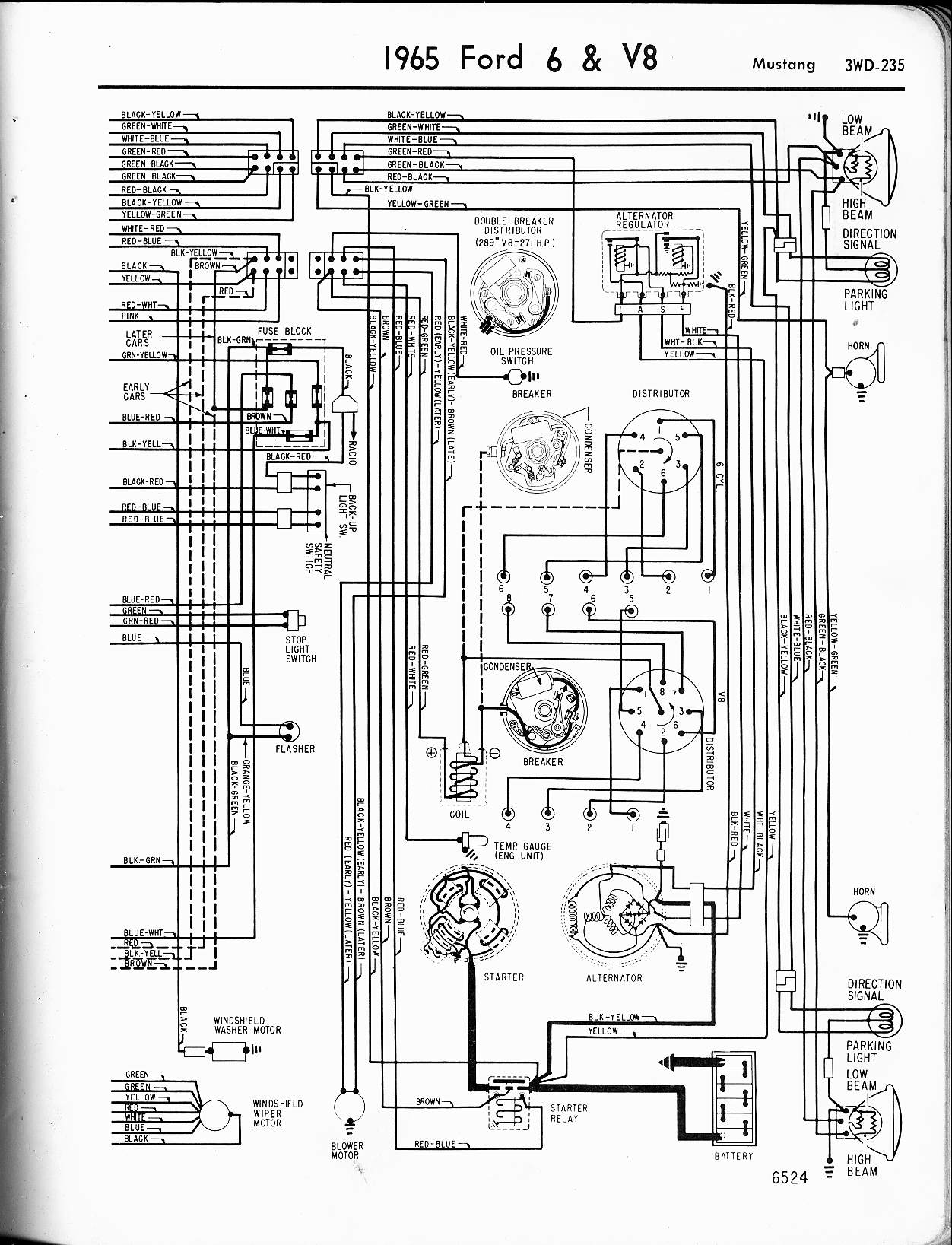 hight resolution of 57 65 ford wiring diagrams1965 6 u0026 v8 mustang right