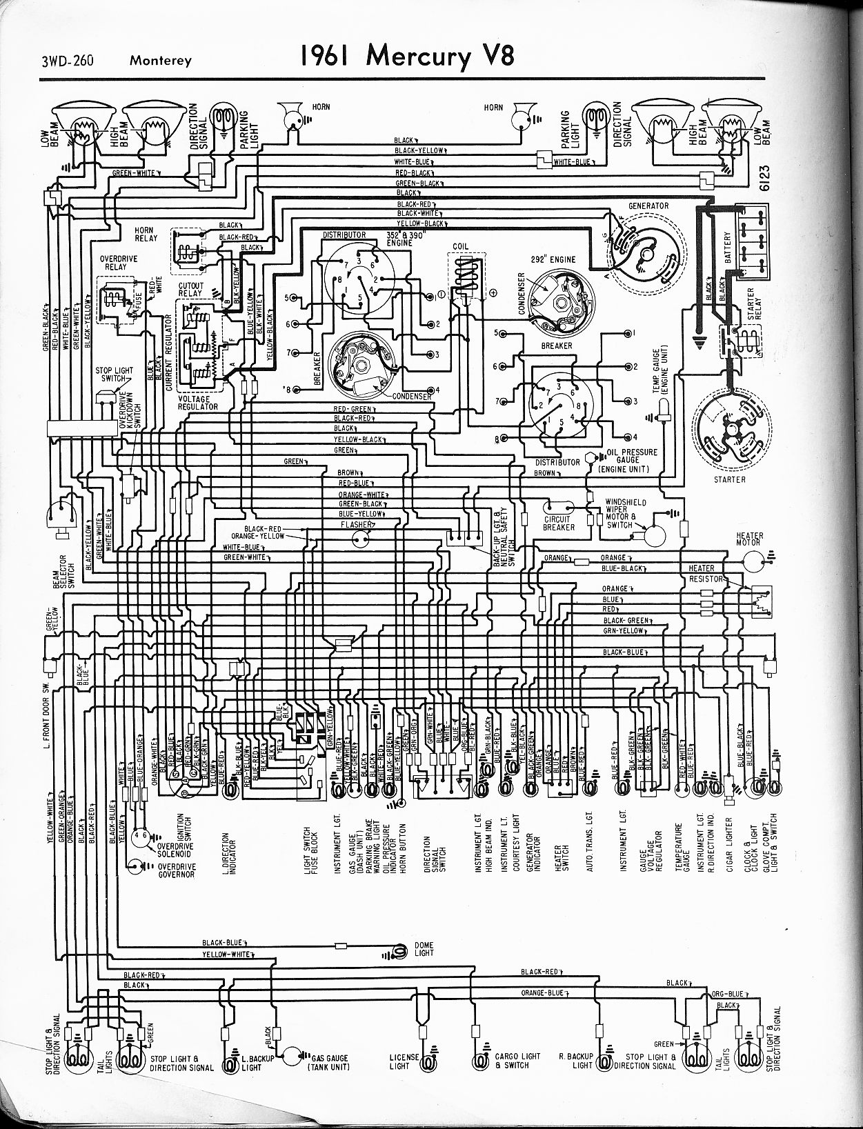 1965 ford falcon wiring diagram vz stereo mercury diagrams the old car manual project 1961 v8 monterey